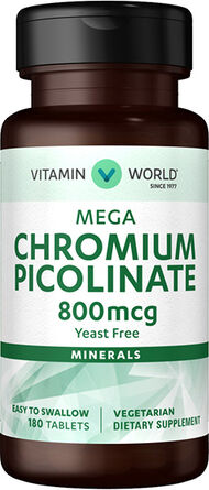 Vitamin World Mega Chromium Picolinate 800 mcg. 180 Tablets
