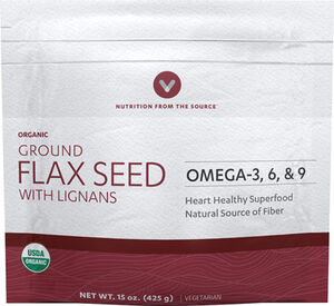 Vitamin World Ground Flax Seed with Lignans 15 oz. Seeds