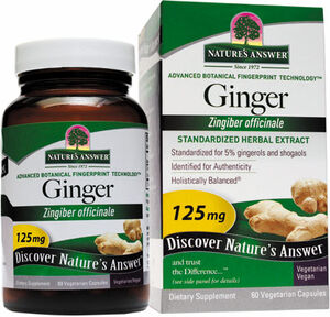 Nature's Answer Ginger 125 mg. 60 Capsules Ginger extract