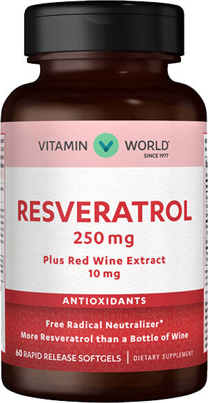 Vitamin World Youth Guard™ Resveratrol 250 mg. 60 Softgels Red wine extract
