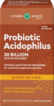 Vitamin World Ultra Maximum Probiotic Acidophilus 20 Billion 60 Capsules