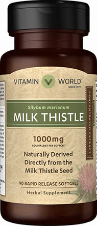 Vitamin World Milk Thistle 1000 mg. 90 Softgels