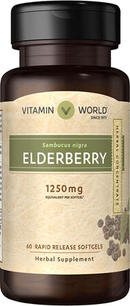 Vitamin World Elderberry 1250 mg. Softgels