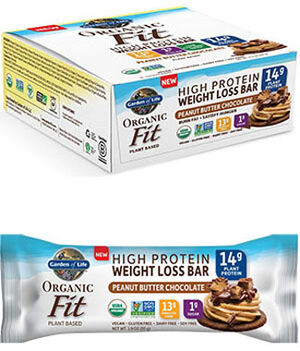 Garden Of Life Organic Fit High Protein Weight Loss Bars Peanut Butter Chocolate 12 Bars