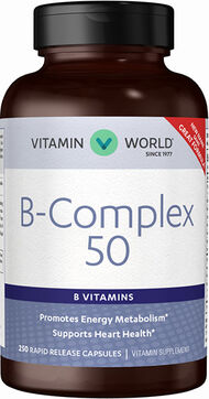 Vitamin World Mega B-50® Complex 50 mg. 250 Capsules
