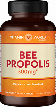 Vitamin World Bee Propolis 500 mg. 200 Capsules 500mg.