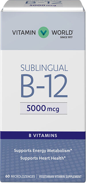 Vitamin World Vitamin B-12 5000 mcg. Sublingual 60 Microlozenges 5000mcg
