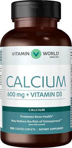 Vitamin World Calcium 600 mg + Vitamin D3 500 Caplets 600mg.