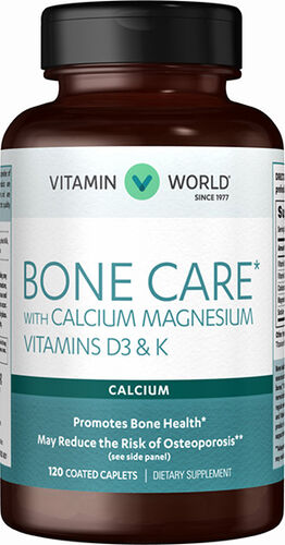 Vitamin World Bone Care* with Calcium Magnesium Vitamins D3 & K 120 Caplets