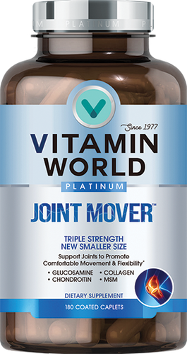 Bottle of Vitamin World's premium Platinum line of Joint Mover supplement to support healthy joints and promote comfortable movement and flexibility.