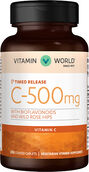 Vitamin World Vitamin C-500 mg. Timed Release with Protective Bioflavonoids & Wild Rose Hips