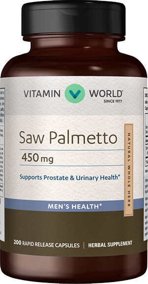 Vitamin World Saw Palmetto 450mg Herbal Supplement