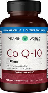 Vitamin World Co Q-10 100 mg. Value Size 400 Softgels 100mg