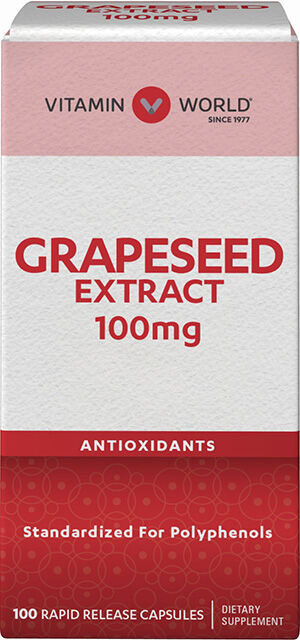 Vitamin World Grapeseed Extract 100 mg. 100 Capsules 100mg.