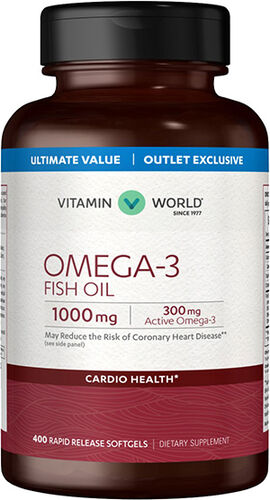 Vitamin World Omega-3 Fish Oil 1000mg Value Size 400 Softgels 1000mg.