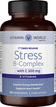 Vitamin World Stress B-Complex with 500 mg. Vitamin C Timed Release 120 Caplets 500MG