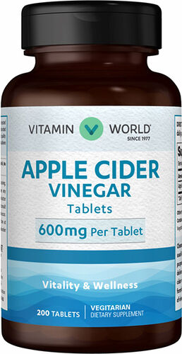 Vitamin World Apple Cider Vinegar 600 mg. 200 Tablets