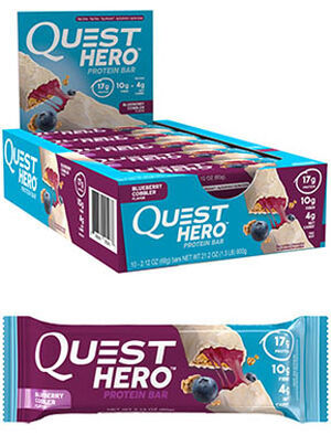 Quest Hero Protein Bars Blueberry Cobbler, , hi-res