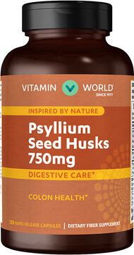 Vitamin World Psyllium Seed Husks 750 mg. 120 Capsules