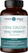 Vitamin World Coral Calcium 500 mg. plus Vitamin D3 240 Capsules 500mg.