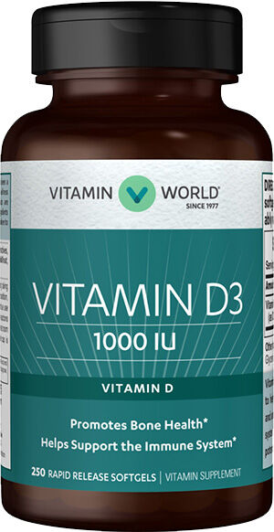 Vitamin World Vitamin D3 1000 IU 250 Softgels 1000IU