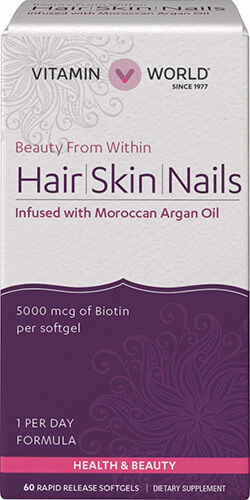 Vitamin World Hair, Skin & Nails with Moroccan Argan Oil 60 Softgels