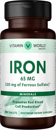 Vitamin World Iron 65 mg. 100 Tablets
