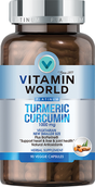 Bottle of Vitamin World's premium Platinum turmeric curcumin with BioPerine supplements in 1000 mg vegetarian capsules.