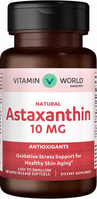 Vitamin World Natural Astaxanthin 10 mg. 60 Softgels 10mg.