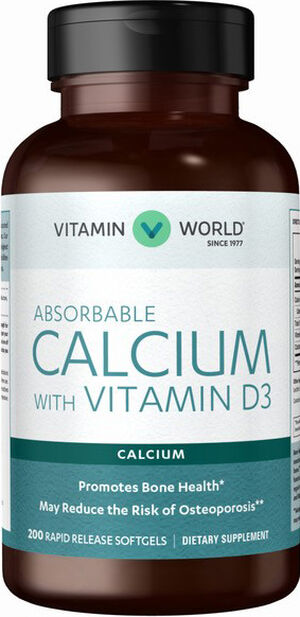 Vitamin World Absorbable Calcium with Vitamin D3 200 Softgels