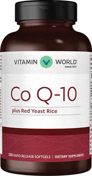 Vitamin World Co Q-10 Plus Red Yeast Rice 120 Softgels