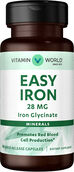 Vitamin World Gentle Iron - Iron Glycinate 28 mg. 90 Capsules