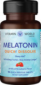 Vitamin World Melatonin Quick Dissolve 10 mg. 90 Tablets Strawberry