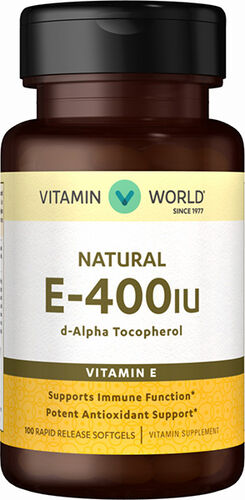 Vitamin World Natural Vitamin E 400 IU 100 Softgels 400IU
