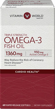 Vitamin World Triple Strength Omega-3 Fish Oil 1360 mg 60 Softgels 1360mg.