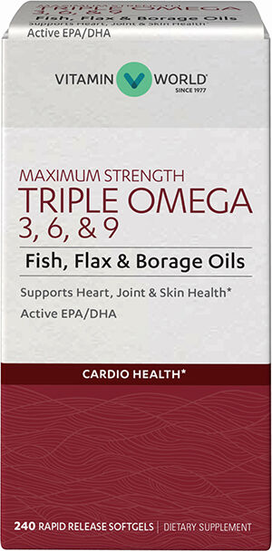 Vitamin World Maximum Strength Triple Omega 3-6-9 240 Softgels