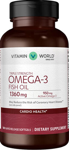 Vitamin World Triple Strength Omega 3 Fish Oil 1360 mg 180 Softgels