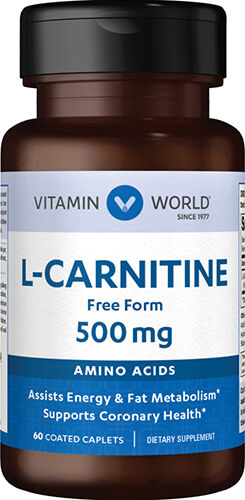 Vitamin World L-Carnitine 500mg. 60 Caplets 500mg.