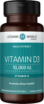 Vitamin World Vitamin D3 10000 IU 100 Softgels