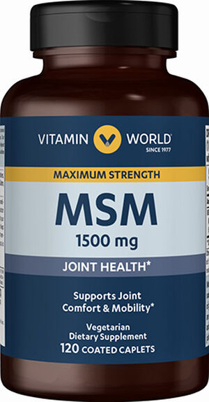 Vitamin World Maximum Strength MSM 1500 mg. 120 Caplets