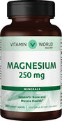 Vitamin World Magnesium Oxide 250 mg. 200 Caplets