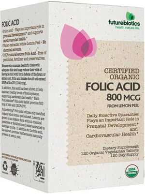 Futurebiotics Certified Organic Folic Acid 800 mcg. 120 Tablets Organic Whole Lemon Peel extract