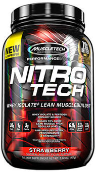 MuscleTech Nitro Tech™ Whey Isolate+ Strawberry 2 lbs.