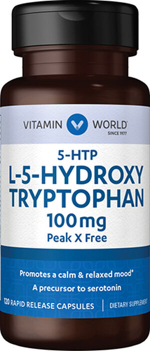 Vitamin World 5-HTP 100 mg. 120 Capsules 100mg.