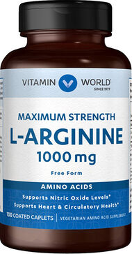 Vitamin World L-Arginine 1000 mg 100 Caplets 1000mg