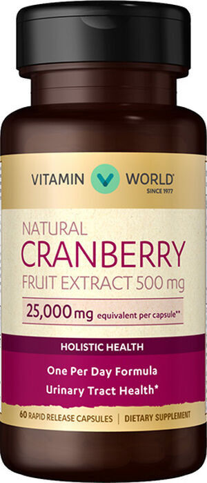 Vitamin World Natural Cranberry Fruit Extract 500 mg. 60 Capsules