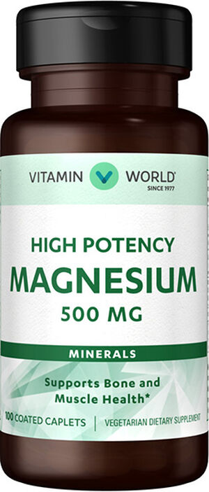 Vitamin World Magnesium Oxide 500mg 100 Caplets 500mg.