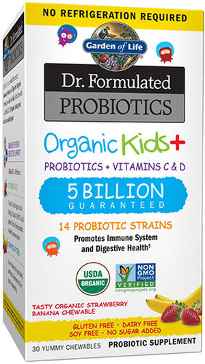 Garden Of Life Dr. Formulated Probiotics Organic Kids+ Strawberry Banana 30 Chewables 5BILLION