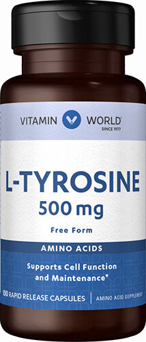 Vitamin World L-Tyrosine 500 mg. 100 Capsules