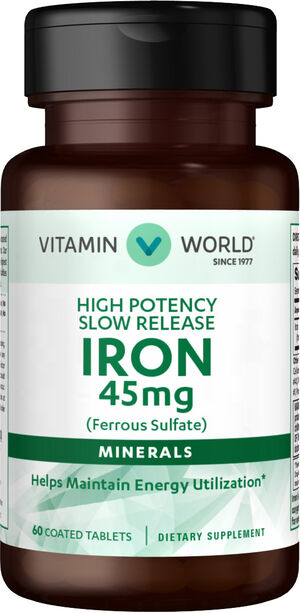 Vitamin World Slow Release Iron 45 mg. 60 Tablets